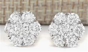 230 CTW Natural Diamond Earrings 18K Solid White Gold