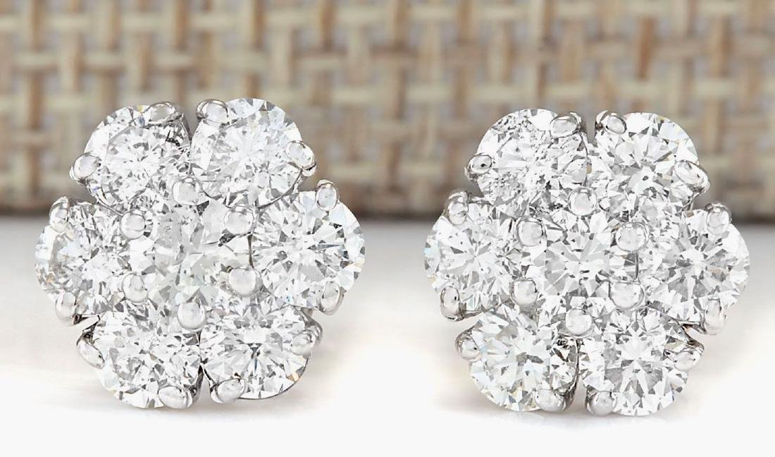 2.30 CTW Natural Diamond Earrings 18K Solid White Gold