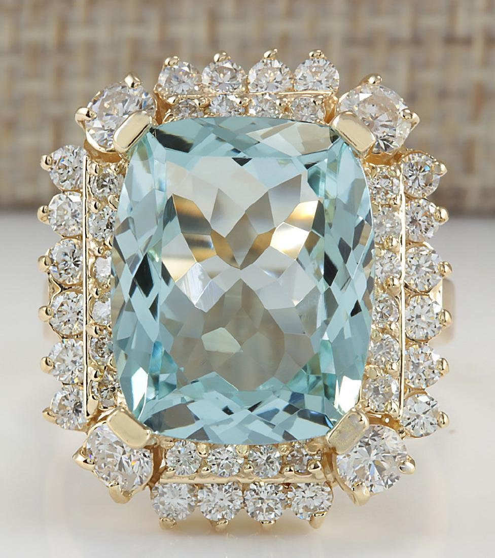 9.51CTW Natural Aquamarine And Diamond Ring 18K Solid
