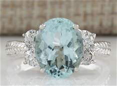 403CTW Natural Blue Aquamarine Diamond Ring 18K Solid