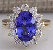 537CTW Natural Blue Tanzanite And Diamond Ring 18K