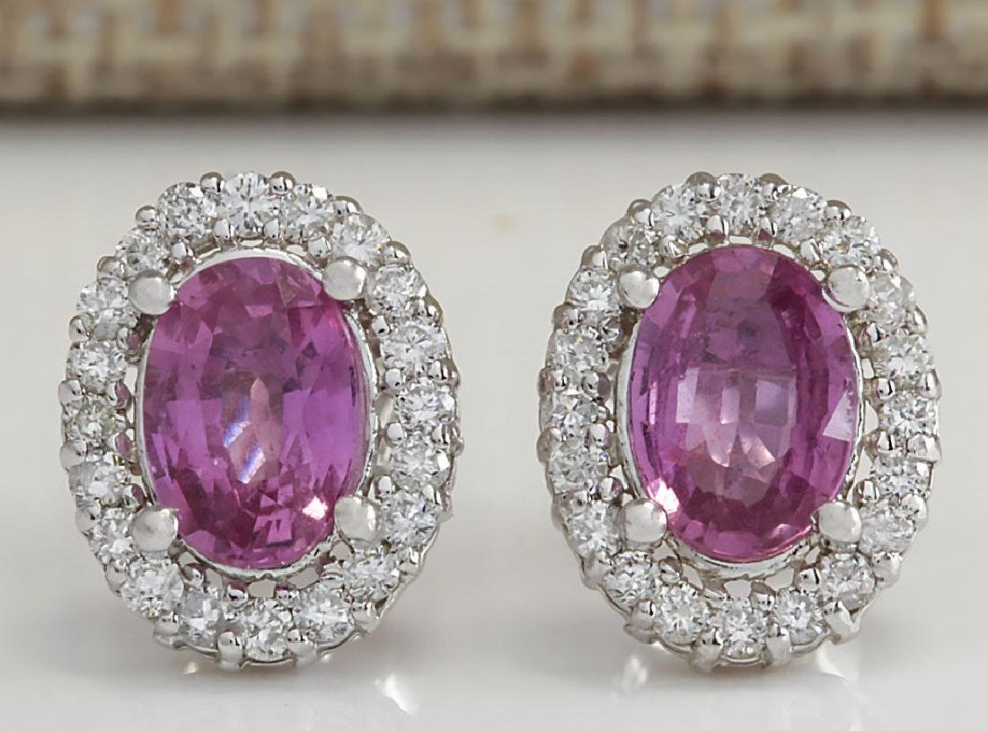 3.10CTW Natural Pink Sapphire And Diamond Earrings 18K
