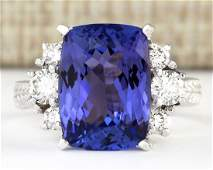 710 CTW Natural Blue Tanzanite And Diamond Ring 18K