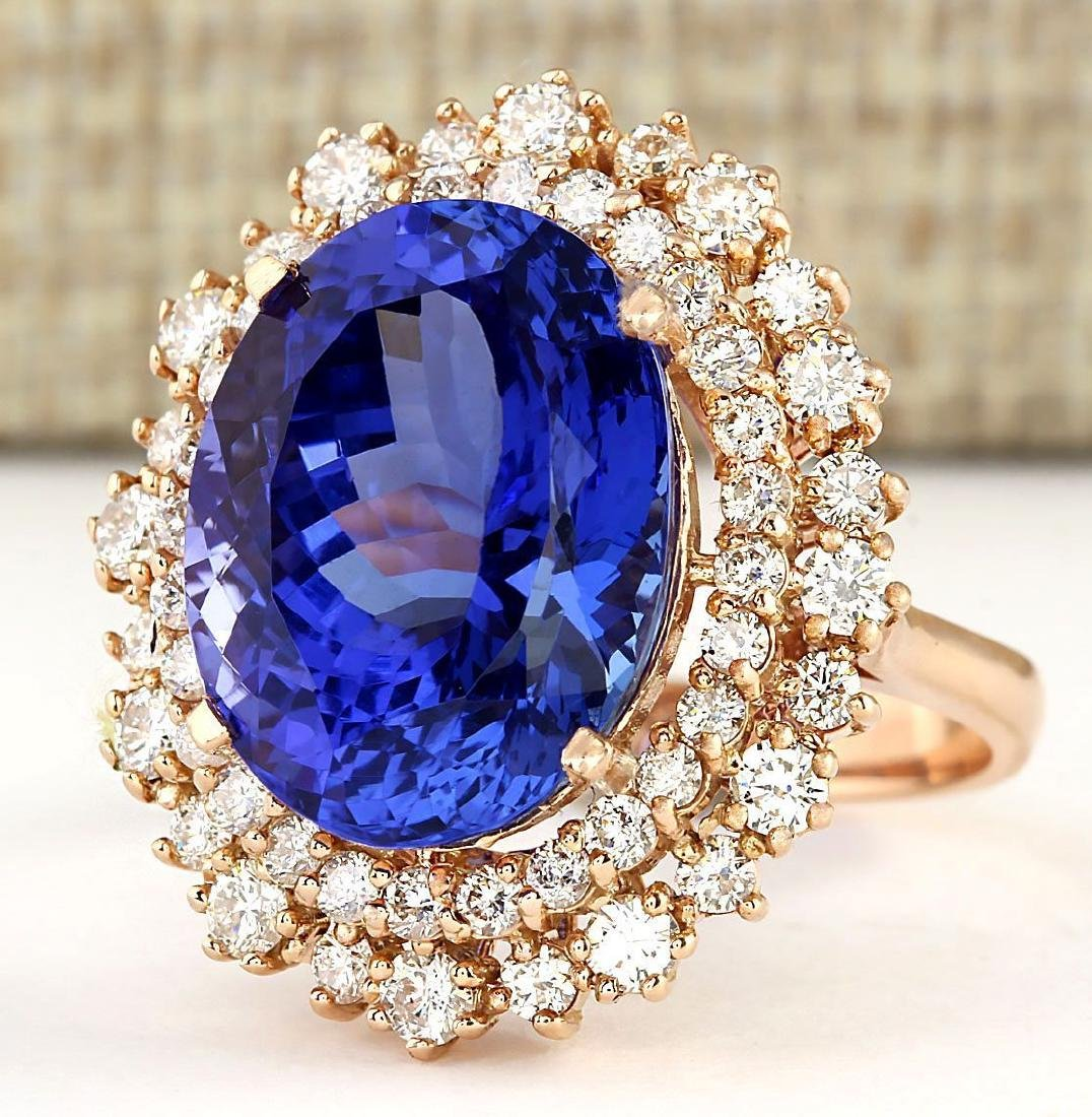 13.49 CTW Natural Tanzanite And Diamond Ring In 18K
