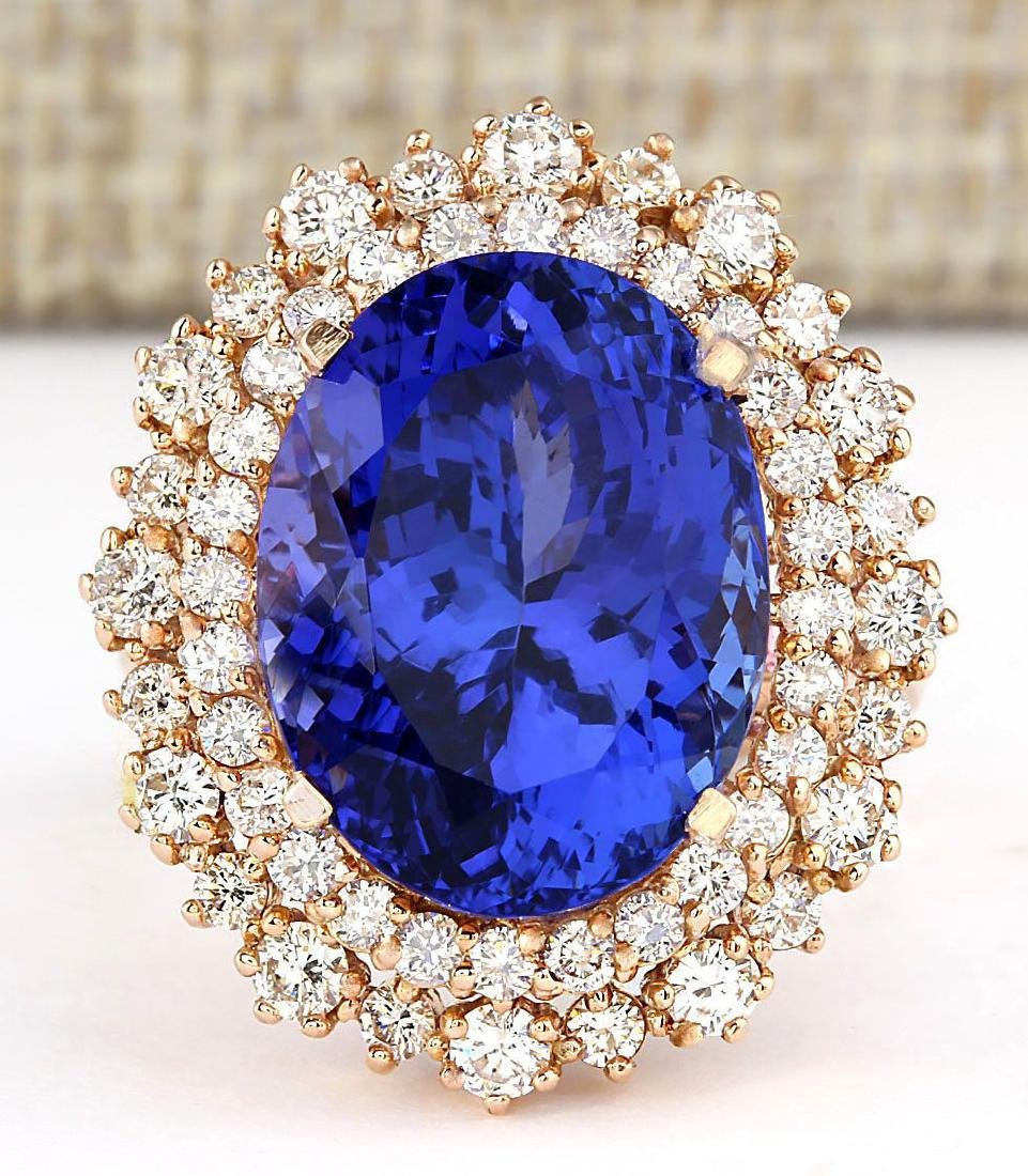 13.49 CTW Natural Tanzanite And Diamond Ring In 18K - 2