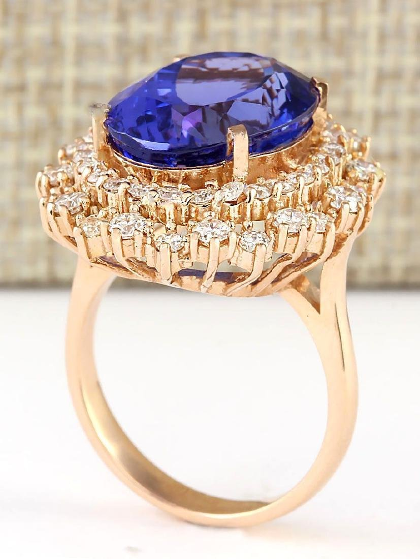 13.49 CTW Natural Tanzanite And Diamond Ring In 18K - 3