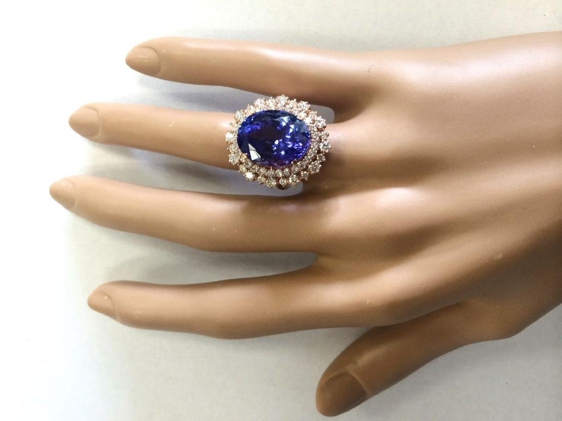 13.49 CTW Natural Tanzanite And Diamond Ring In 18K - 4