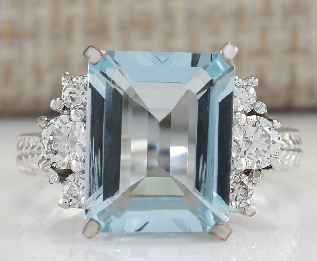 4.91CTW Natural Aquamarine And Diamond Ring In 18K