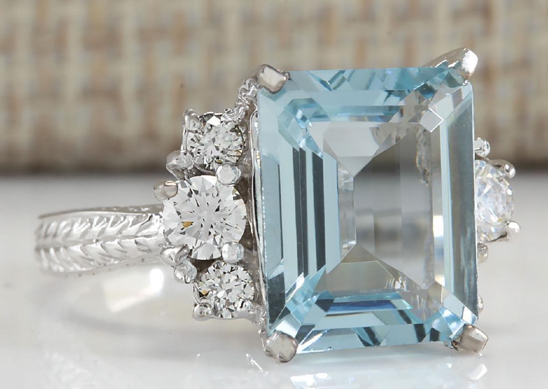 4.91CTW Natural Aquamarine And Diamond Ring In 18K - 2