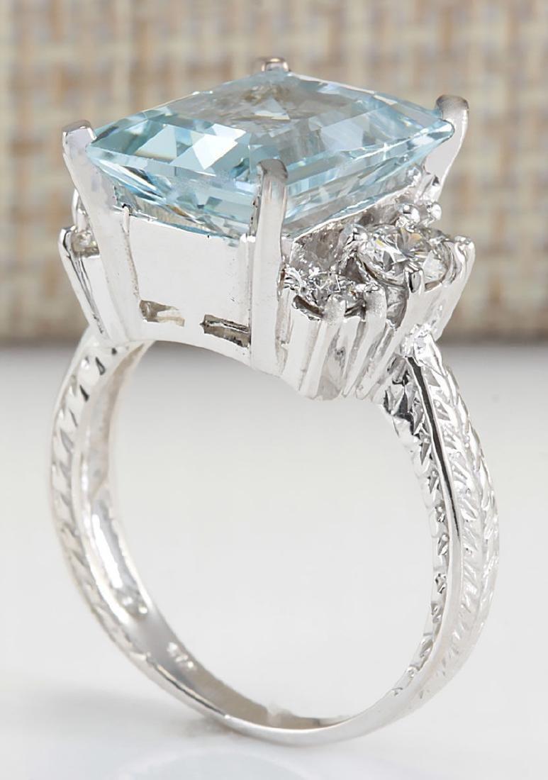 4.91CTW Natural Aquamarine And Diamond Ring In 18K - 3