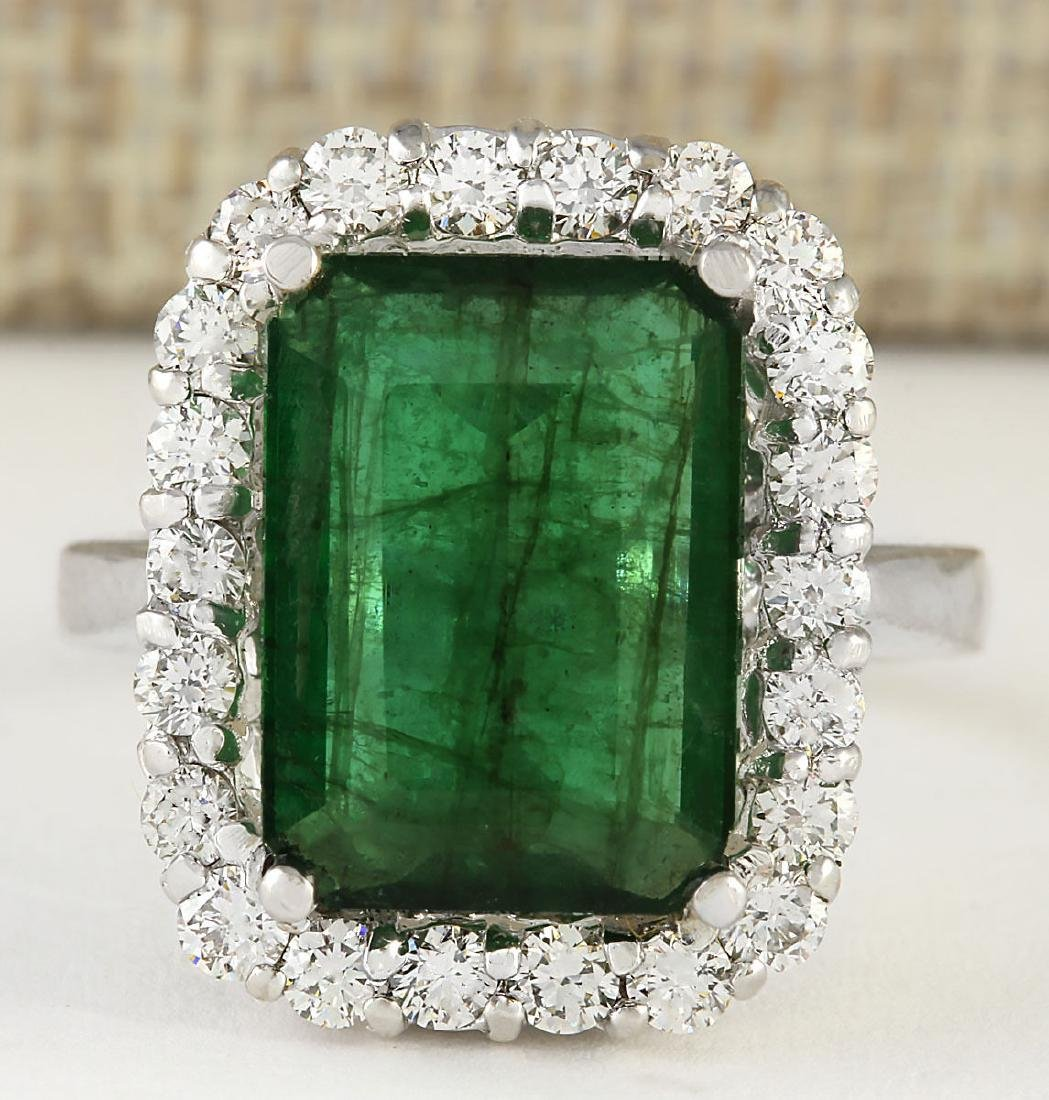 5.95 CTW Natural Emerald And Diamond Ring In 18K Solid