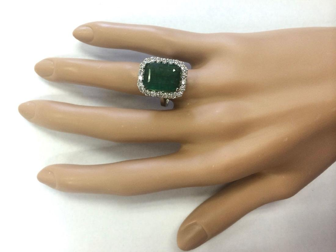 5.95 CTW Natural Emerald And Diamond Ring In 18K Solid - 4