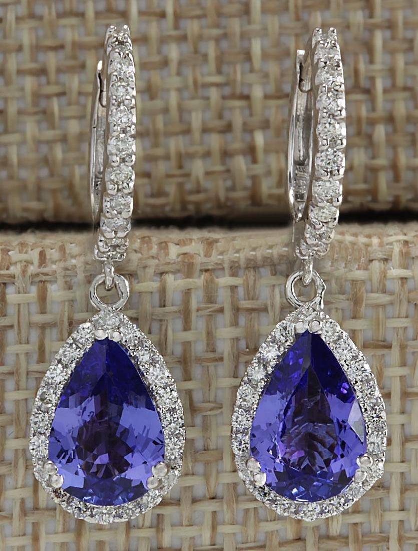 3.97CTW Natural Tanzanite And Diamond Earrings 18K