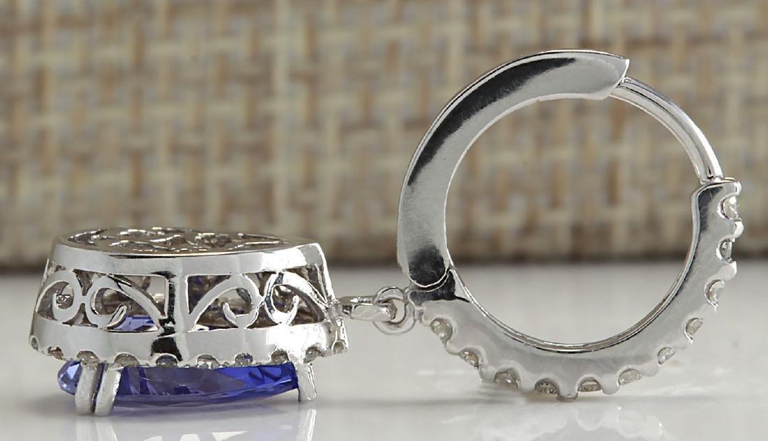 3.97CTW Natural Tanzanite And Diamond Earrings 18K - 2