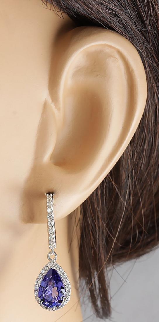 3.97CTW Natural Tanzanite And Diamond Earrings 18K - 3