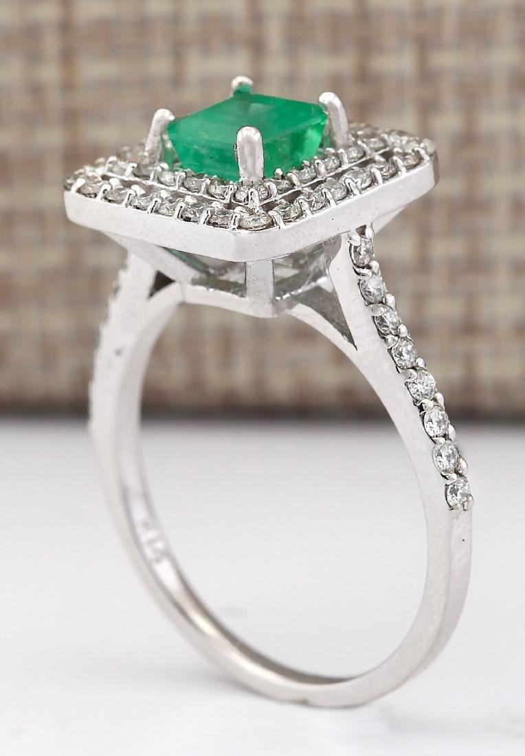 1.70 CTW Natural Emerald And Diamond Ring In 18K White - 3