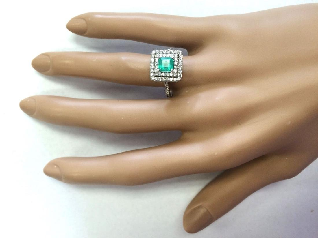 1.70 CTW Natural Emerald And Diamond Ring In 18K White - 4