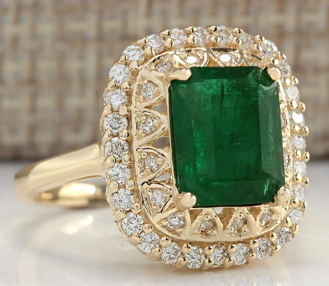 3.11Ct Natural Emerald And Diamond Ring In18K Solid - 2