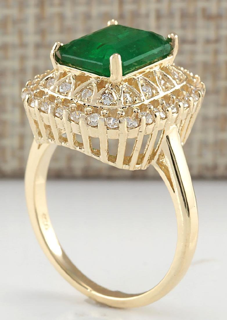 3.11Ct Natural Emerald And Diamond Ring In18K Solid - 3