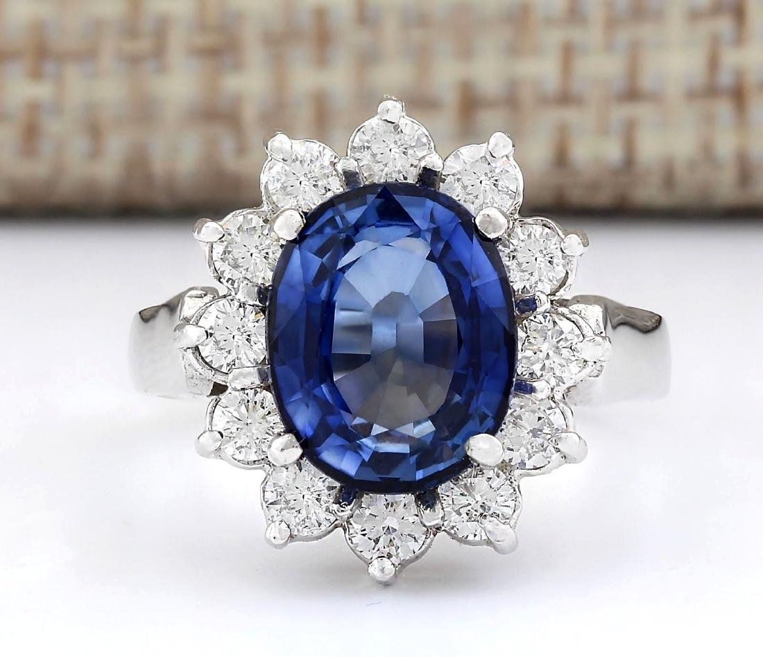 5.14 CTW Natural Blue Sapphire And Diamond Ring In 18K