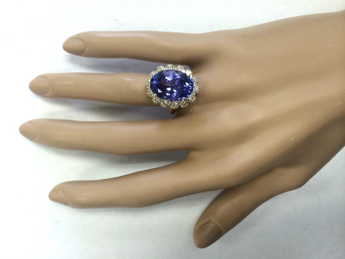 12.38 CTW Natural Tanzanite And Diamond Ring In 18K - 4