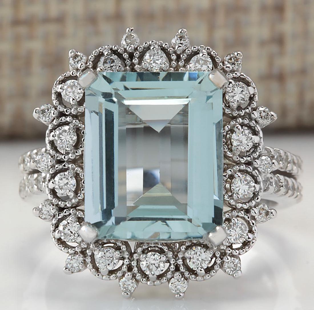 5.58CTW Natural Blue Aquamarine Diamond Ring 18K Solid