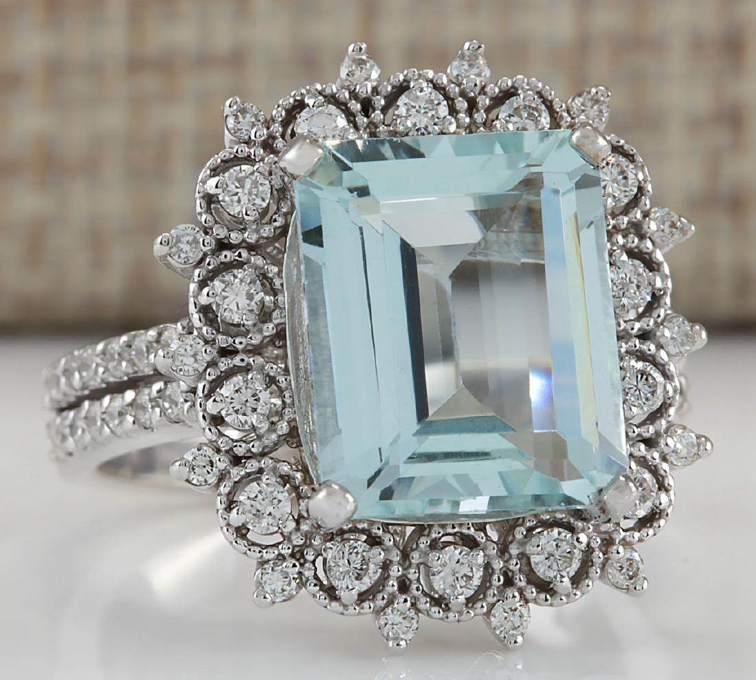 5.58CTW Natural Blue Aquamarine Diamond Ring 18K Solid - 2