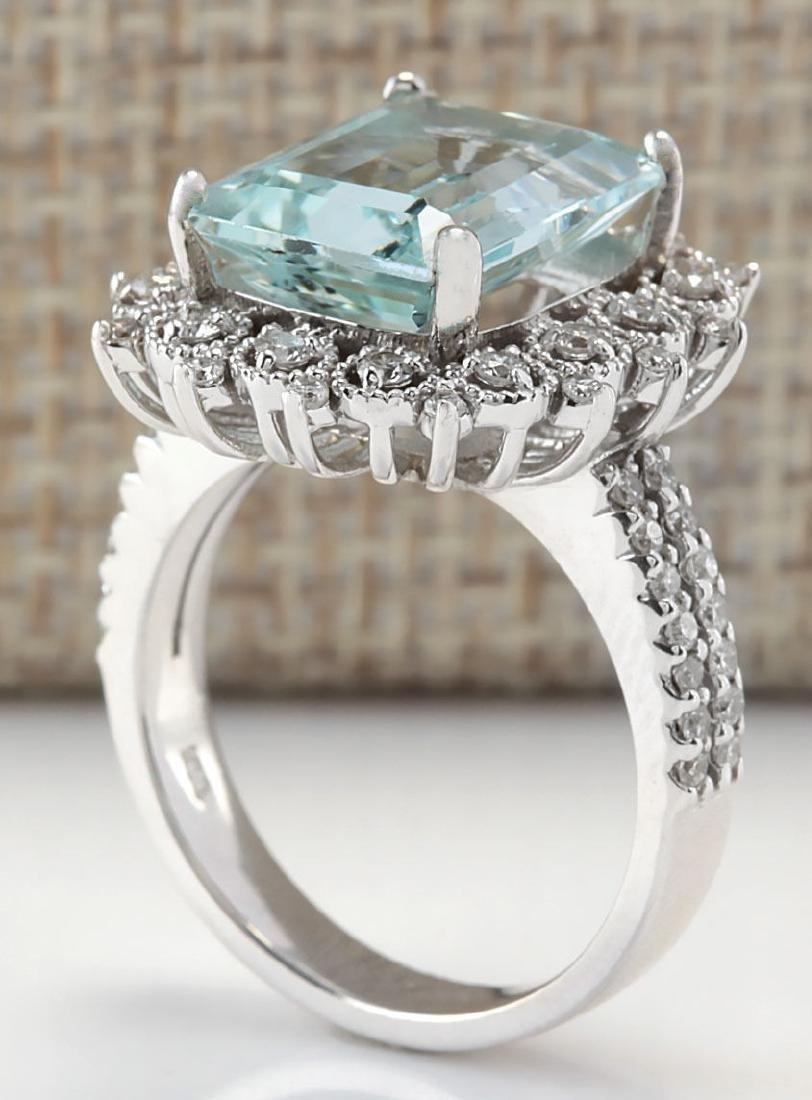 5.58CTW Natural Blue Aquamarine Diamond Ring 18K Solid - 3