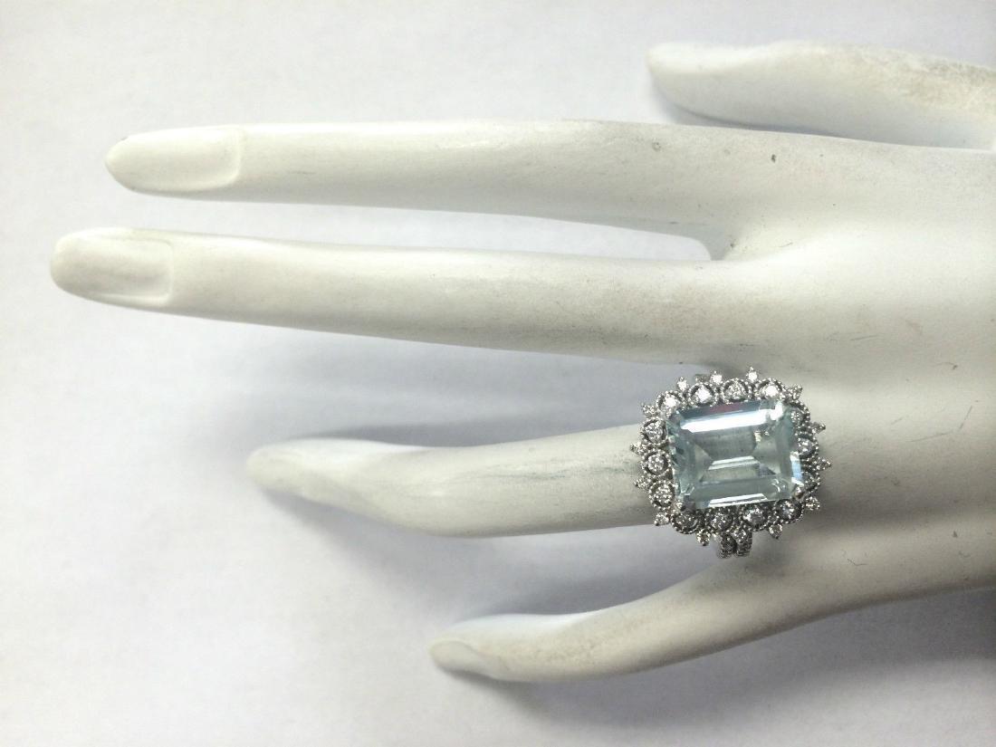 5.58CTW Natural Blue Aquamarine Diamond Ring 18K Solid - 4