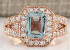 312CTW Natural Blue Aquamarine Diamond Ring 18K Solid