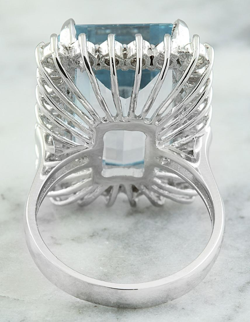 28.80 Carat Aquamarine 18K White Gold Diamond Ring - 3