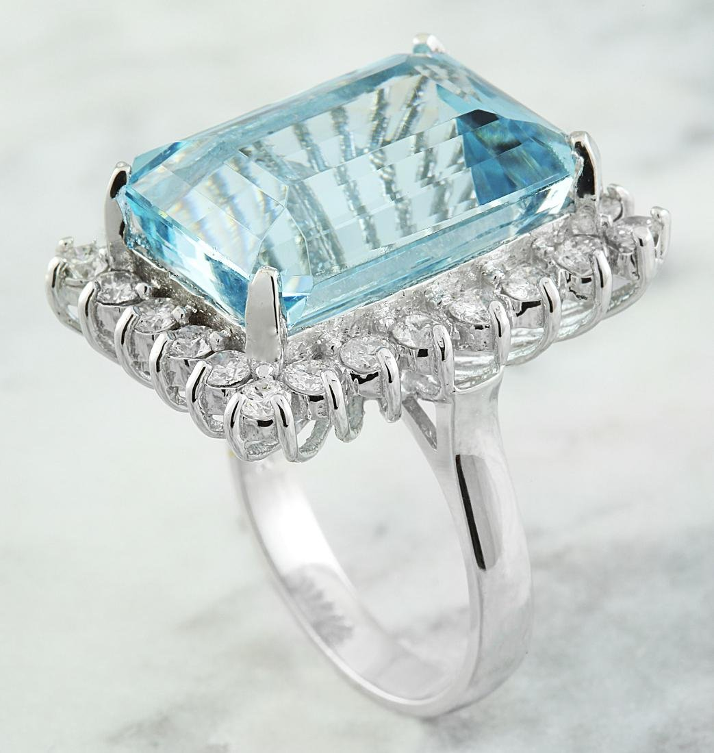 28.80 Carat Aquamarine 18K White Gold Diamond Ring - 4