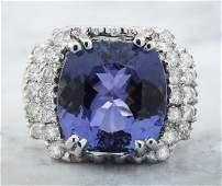 9.97 Carat Tanzanite 18K White Gold Diamond Ring