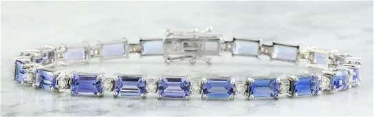 11.55 Carat Tanzanite 18K White Gold Diamond Bracelet