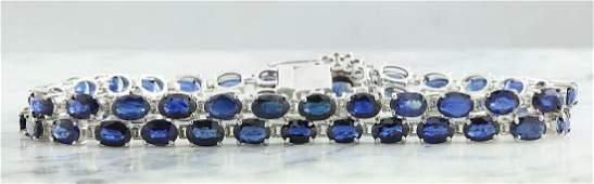 28.22 Carat Sapphire 18K White Gold Diamond Bracelet