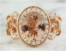 450 Carat Morganite 14 K Rose Gold Diamond Ring