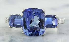 2.87 Carat Tanzanite 18K White Gold Diamond Ring