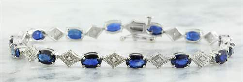 8.50 Carat Sapphire 18K White Gold Diamond Bracelet