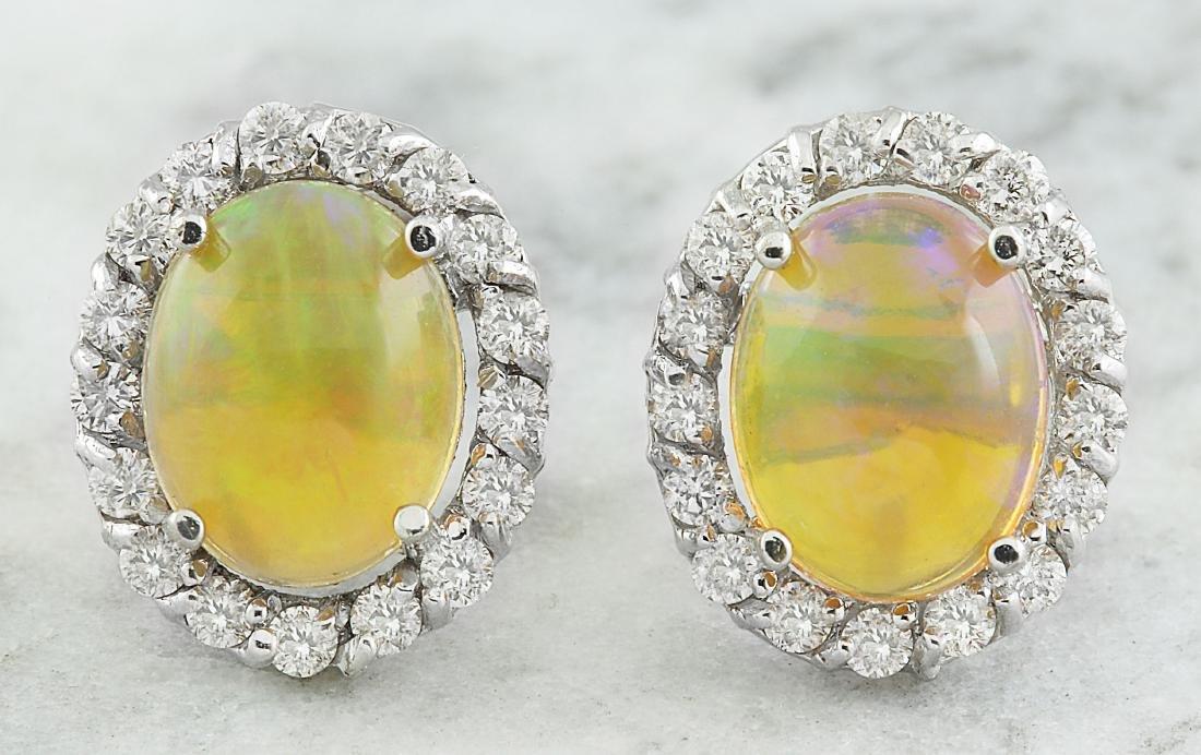 3.70 Carat Opal 18K White Gold Diamond Earrings