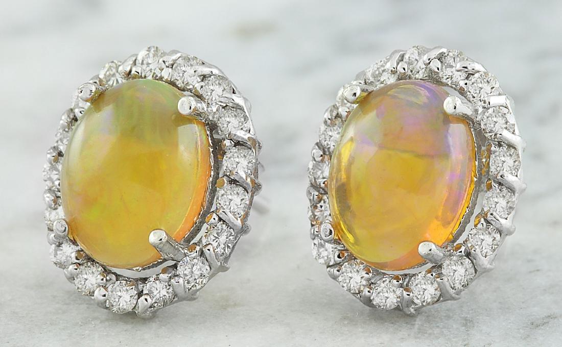 3.70 Carat Opal 18K White Gold Diamond Earrings - 2