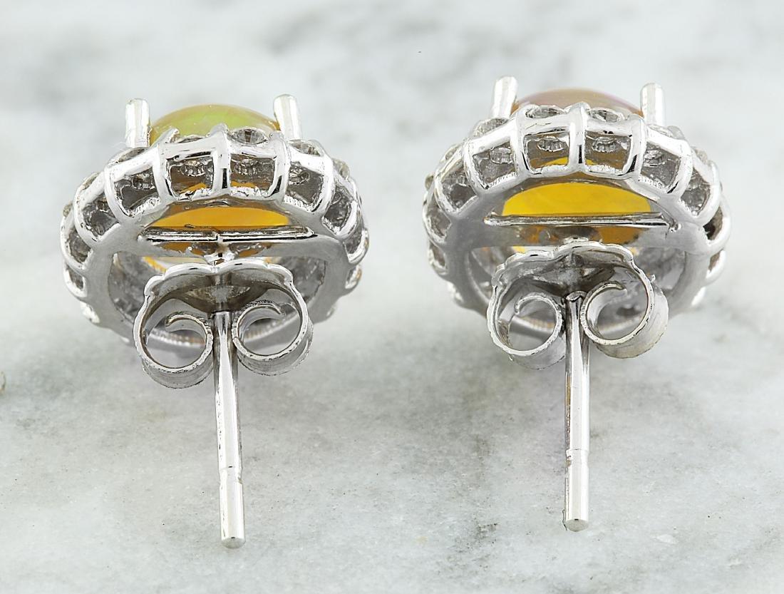 3.70 Carat Opal 18K White Gold Diamond Earrings - 4