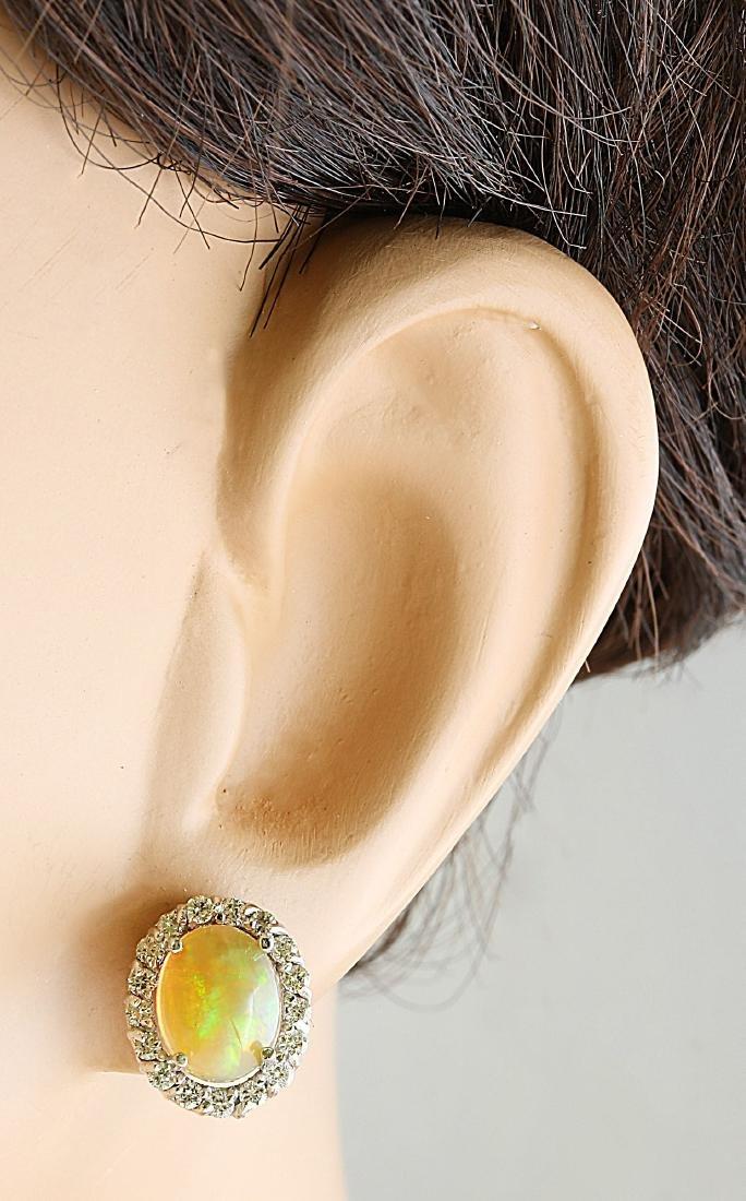 3.70 Carat Opal 18K White Gold Diamond Earrings - 6