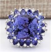 914 CTW Natural Blue Tanzanite And Diamond Ring 18K