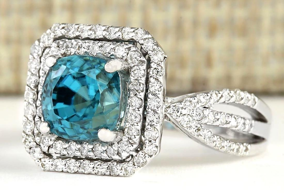 5.46 CTW Natural Blue Zircon And Diamond Ring 18K Solid - 2