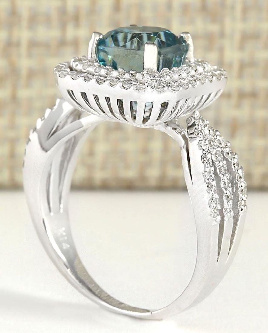 5.46 CTW Natural Blue Zircon And Diamond Ring 18K Solid - 3