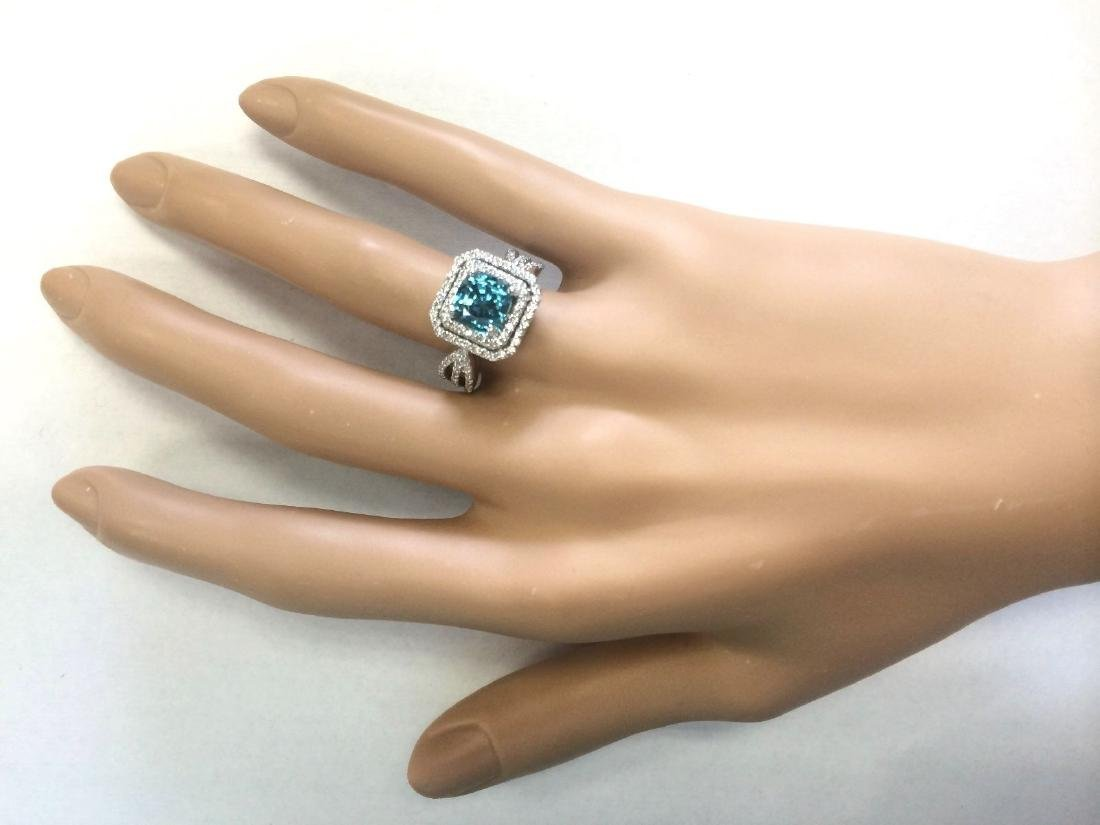 5.46 CTW Natural Blue Zircon And Diamond Ring 18K Solid - 4