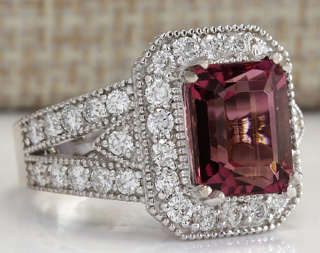 5.78CTW Natural Pink Tourmaline And Diamond Ring 18K - 2