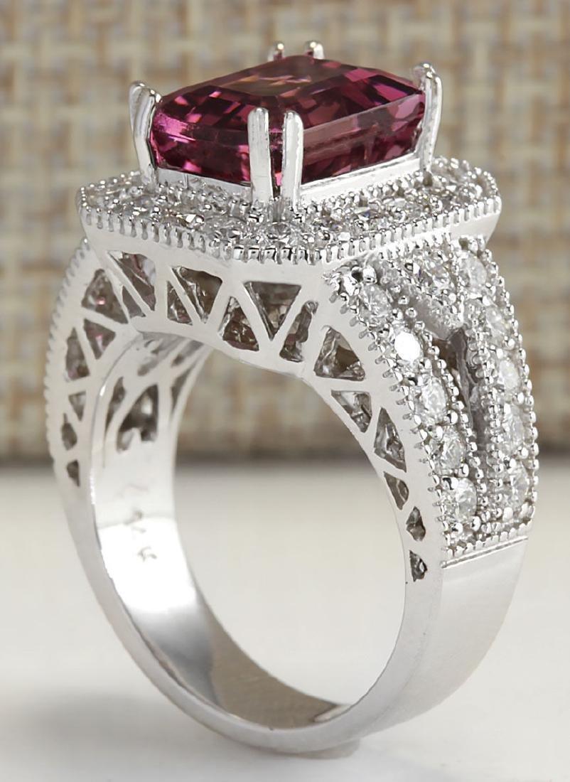 5.78CTW Natural Pink Tourmaline And Diamond Ring 18K - 3