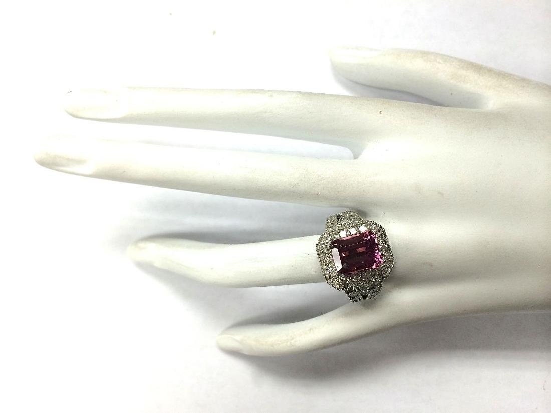5.78CTW Natural Pink Tourmaline And Diamond Ring 18K - 4