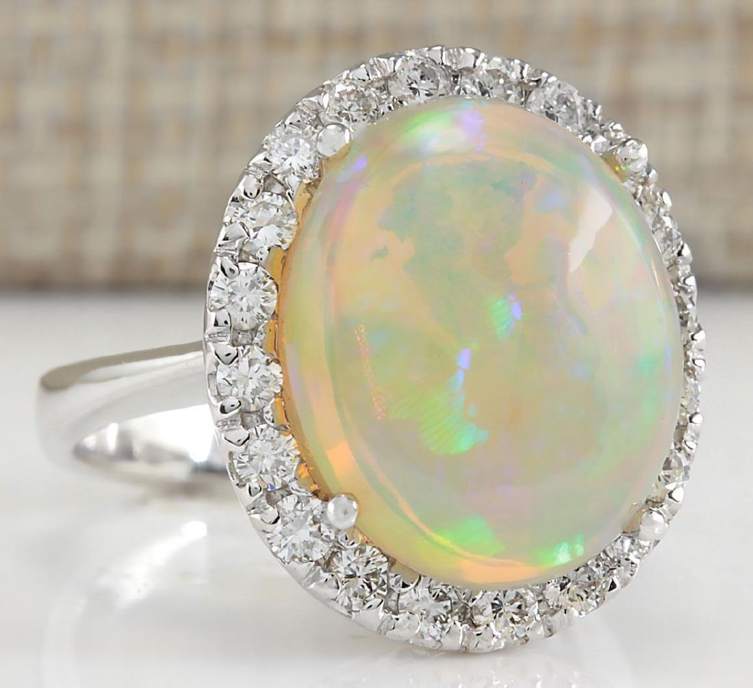 8.30CTW Natural Opal And Diamond Ring 18K Solid White - 2